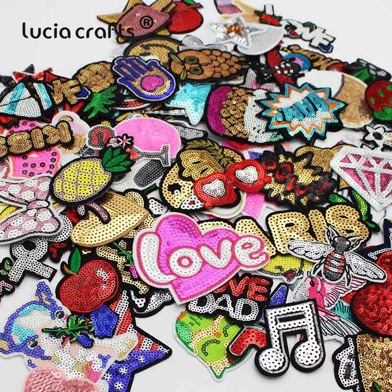 Lucia crafts 12pcs Sequins Applique Random Styles Embroidered Fabric <font><b>Iron</b></font>-<font><b>on</b></font> <font><b>Patches</b></font> for <font><b>kids</b></font> Clothing L0305 image