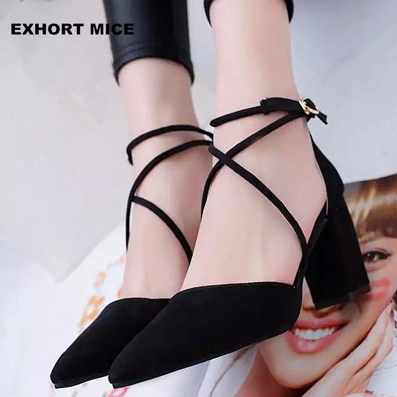 2017 High Heels Shoes Women Pumps Buckle Strap Sexy Thin High Heels Two Piece Heels Pointed Toe Fashion Ladies Shoes 7.5cm memunia flock pointed toe ladies summer high heels shoes fashion buckle color mixing women pumps elegant lady prom shoes