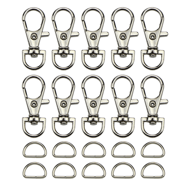 (30pcs Clasps +30pcs D Ring ) Metal Lobster Trigger Swivel Clasp Hooks Clip Buckle For Bag Parts & Accessories