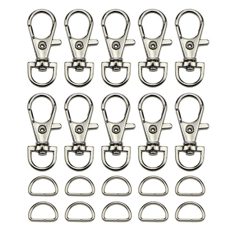 (30pcs Clasps +30pcs D Ring ) Metal Lobster Trigger Swivel Clasp Hooks Clip Buckle For Bag Parts & Accessories