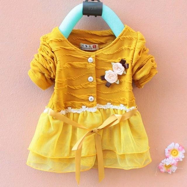 2016 novas roupas infantis criança roupas de bebê meninas princesa longo casaco cardigan crianças camisola desgaste crianças flor corsage tops