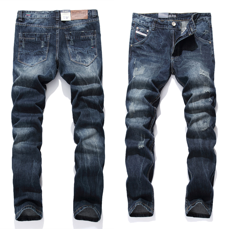 Dark Blue Jeans Men Straight Denim Jeans Ripped Trousers full size 29-40 High Quality Cotton Mens Brand Biker Jeans 988-4 2017 fashion mens patch jeans slim straight denim biker jeans trousers new brand superably jeans ripped dark jeans men u329
