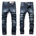 Dark Blue Jeans Men Straight Denim Jeans Ripped Trousers full size 29-40 High Quality Cotton Mens Brand Biker Jeans 988-4