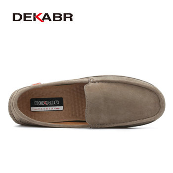 DEKABR Brand 2019 New Men Loafers Breathable Genuine Leather Shoes For Man Driving Shoes Moccasins Business Boat Top Men Shoes 1