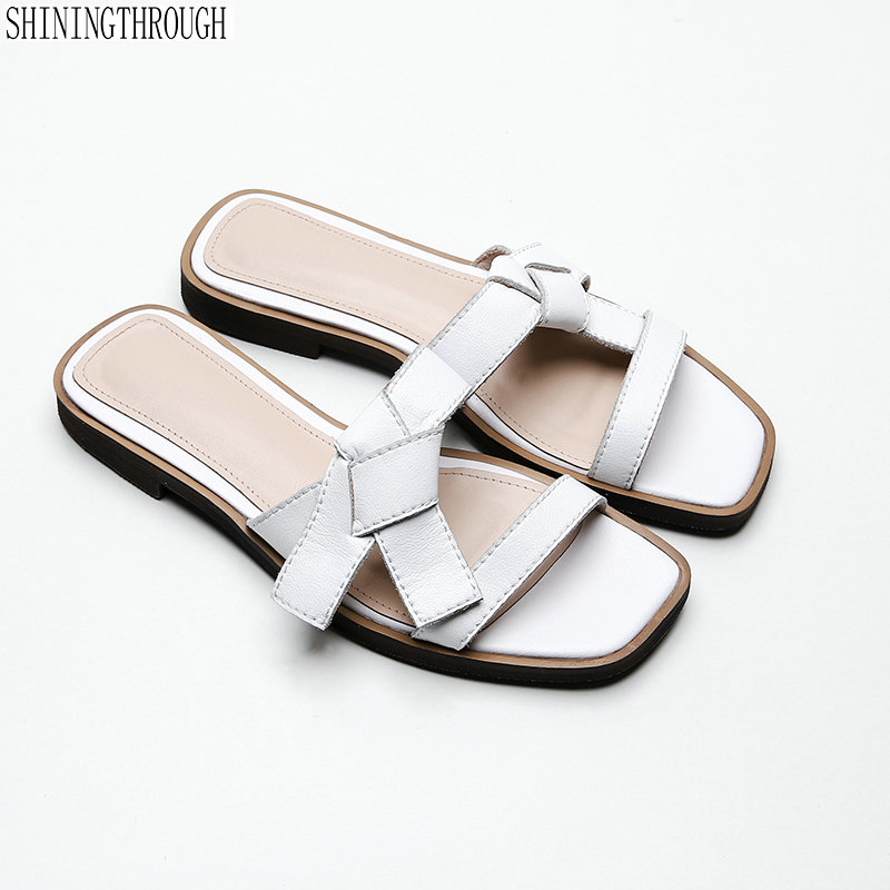 100 real Leather summer Shoes Woman flat slippers Flips Flops Low Heeled Comfort Casual Shoes Ladies
