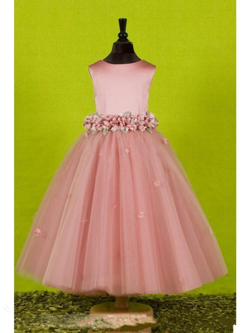 Flower   O Neck   Flower     Girl     Dresses   Exquisite Sash Kids Prom Gown for Pageant Wedding Party