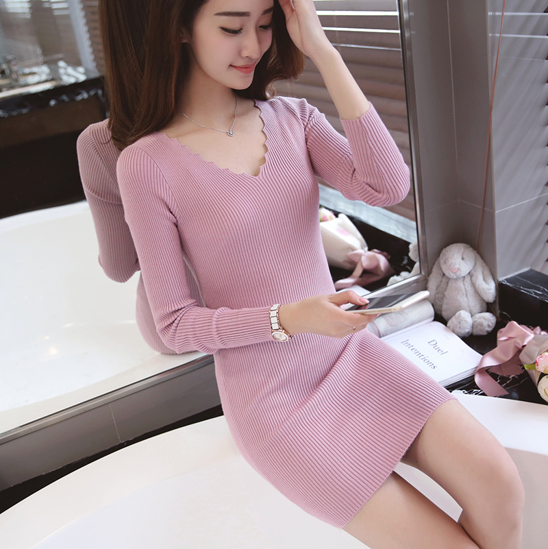 2018 Women Autumn Winter Knitted Dress Sexy Slim Bodycon Mini Sweater Dress V Neck Long Sleeve Solid Casual Club Party Dresses