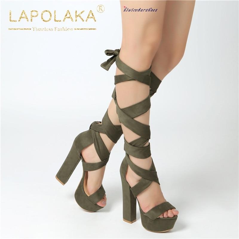 Army Taille Up Femme Sandales 40 Grande Chaussures Lapolaka forme Bout Green Plate Nouveautés 35 Ouvert D'été Chunky Lace Talons 2019 qwUxnEfPa
