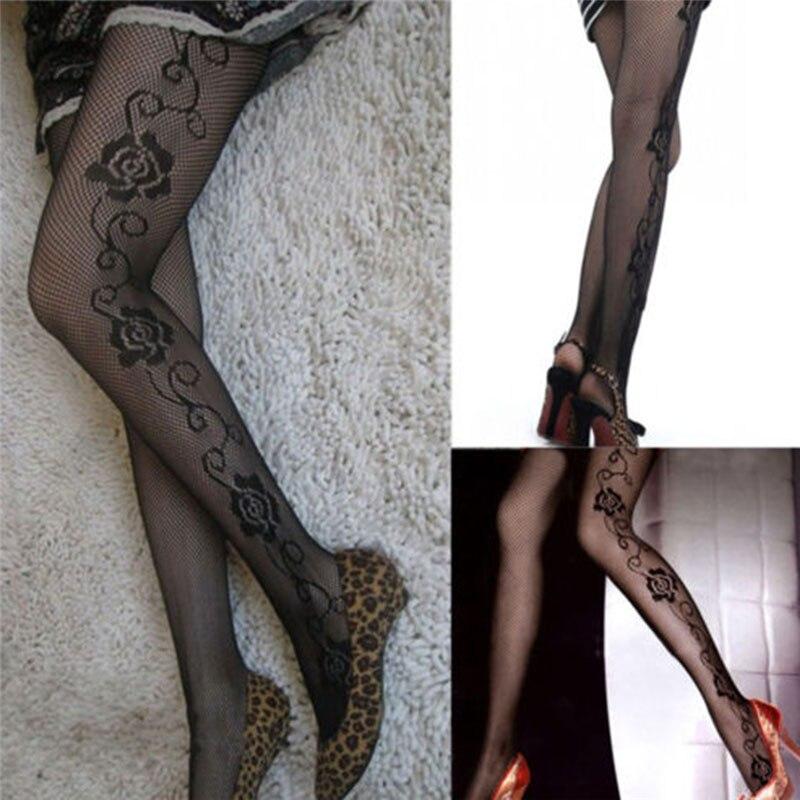 Высокое качество женские колготки мода Роуз сторона шаблон ажурные колготки сетка колготки чулки женские чулочно-носочные изделия
