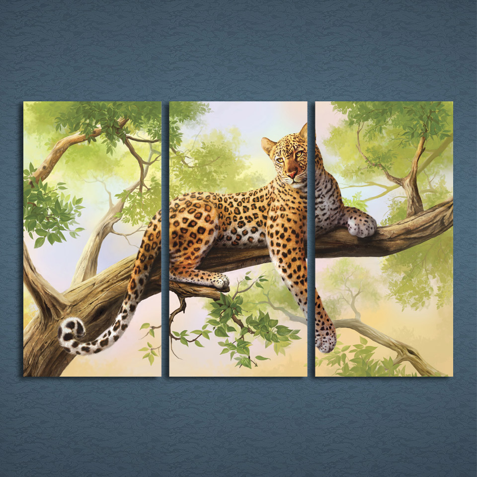 3 Panels Uframed Canvas Art Spots Leopard Lie on Tree Home Decor ...