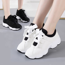 Hot Sale Spring Autumn Fashion Street White Chunky Trainers Lace-Up Ulzzang Sneakers Korean Women Vulcanize Shoes Black