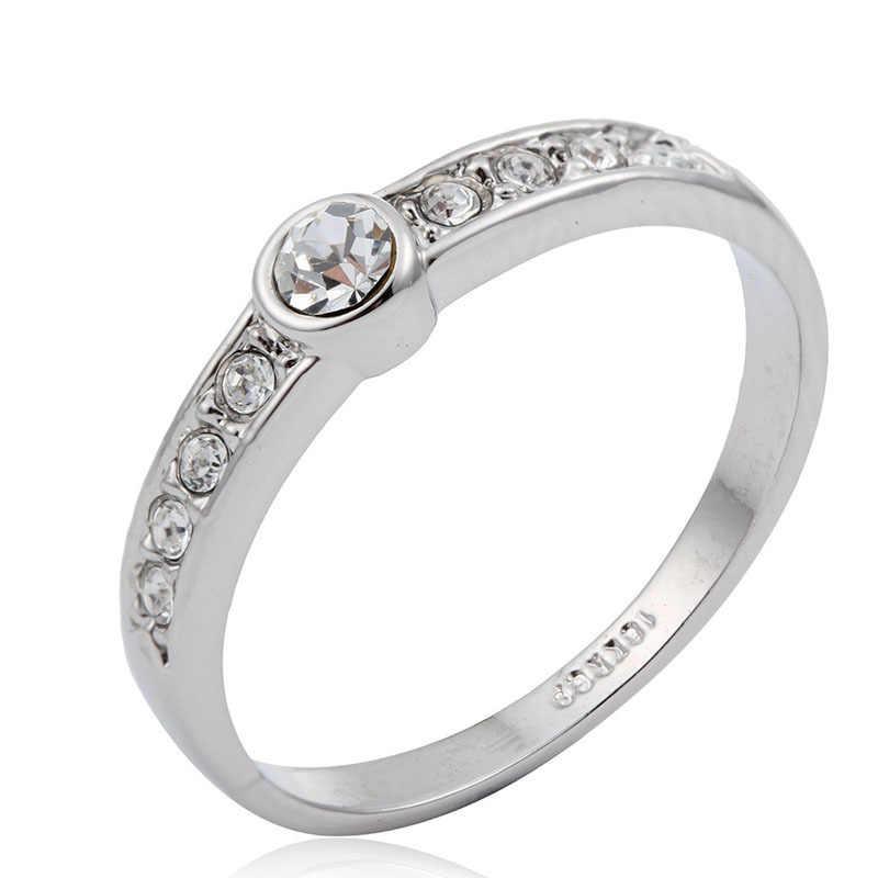 สีขาวสี Big & Accent คริสตัลแหวนหมั้นแหวน Anillos Bague Feminino Anel Aneis เครื่องประดับนิ้วมือ