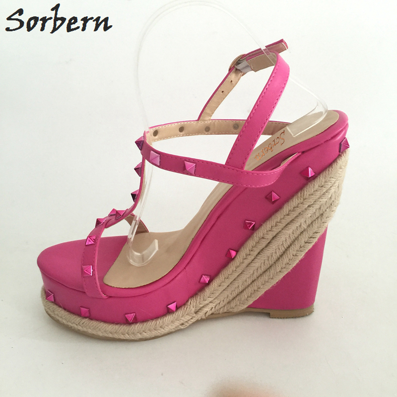 цена Sorbern Pink Wedge Heel Sandals Women T-strap Rivets Rope High Heels Platform Summer Shoes Women Plus Size EU34-46 Custom Color