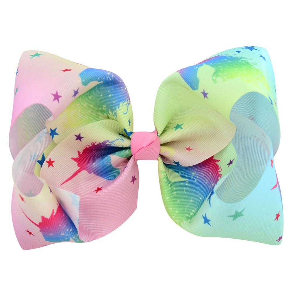 Image 3 - 8 Inch JOJO Hair Bow 10PCS Fashion Hair Clip Girls Princess Big Cartoon Print Ribbon Boutique Hairbows Unicorn Hair AccessoriesHair Accessories   -