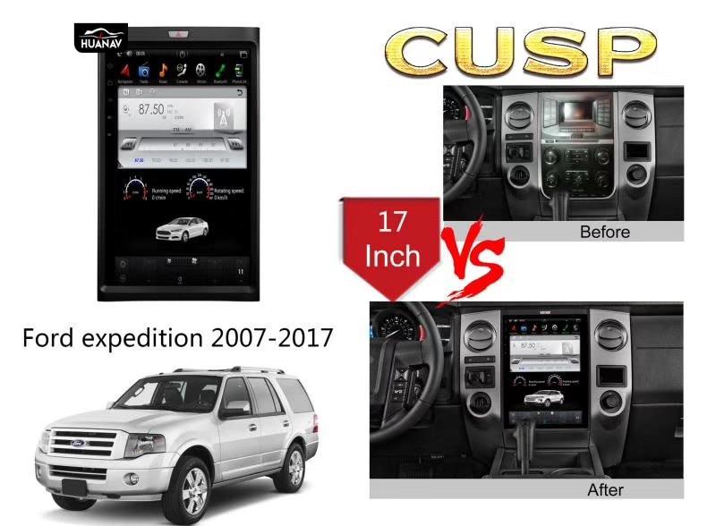 Tesla estilo Vertical Do Carro Da Tela de DVD Player GPS de Navegação Para Ford expedition 2007 + Auto radio stereo unidade central multimedia player