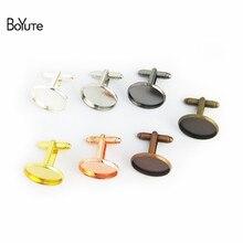 BoYuTe 30 pièces rond 12MM 14MM 16MM 20MM Cabochon Base métal boutons de manchette français ébauches plateau lunette bricolage vêtements pour hommes accessoires
