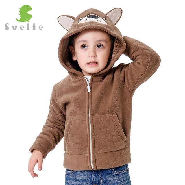 SVELTE Autumn and Winter kids Fur Coats boys Kids Hooded Bears Coat Fashion Thick Fleece warm Lovely outerwear Enfant