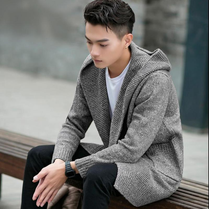 2ea47483db9f PUNKOOL Sweater Men 2016 Long Hooded Cardigan Men Sweater Jacket Coats  Winter Warm Knitted Cardigans Pull Homme Plus Size Jersey-in Cardigans from  Men s ...