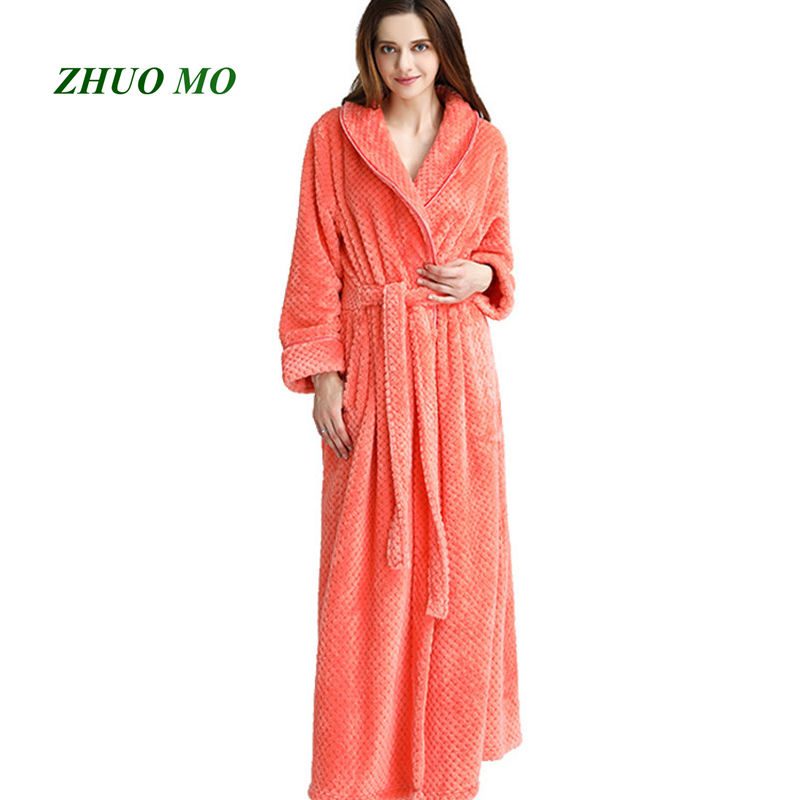 ZHUO MO 2019 fashion lady flannel Bath Robe towel Bathrobe Velvet Pajamas Body Spa Bath Super