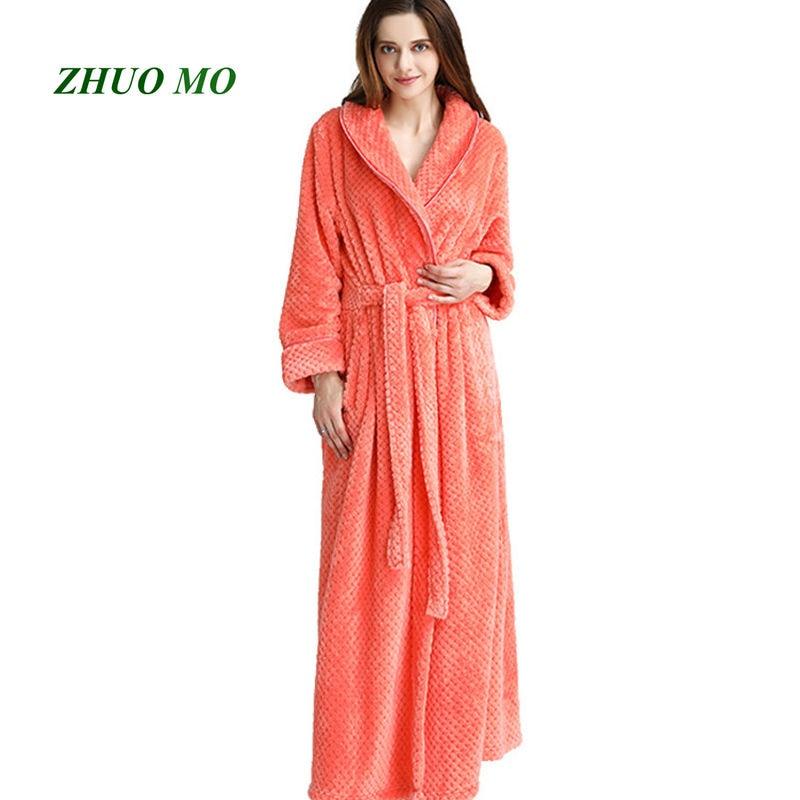 ZHUO MO 2019 fashion lady flannel Bath Robe towel Bathrobe Velvet Pajamas Body Spa Bath Super