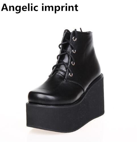 천사의 인형 여자 모리 소녀 로리타 코스프레 신발 숙녀 높은 사소한 발 뒤꿈치 웨지 펌프 여성 공주 신발 오토바이 부츠 47-에서여성용 펌프부터 신발 의  그룹 1