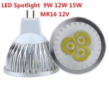 1 sztuk żarówka LED wysokiej mocy MR16 9W 12W 15W 12V ściemniania punktowe reflektory Led WarmWhite czysta biel zimna biała lampka LED oświetlenie tanie tanio HOSDALY Ciepły biały (2700-3500 k) 3 w wysokiej mocy Salon DC AC12V 250-499 Lumenów W kształcie litery u 50000 50mm