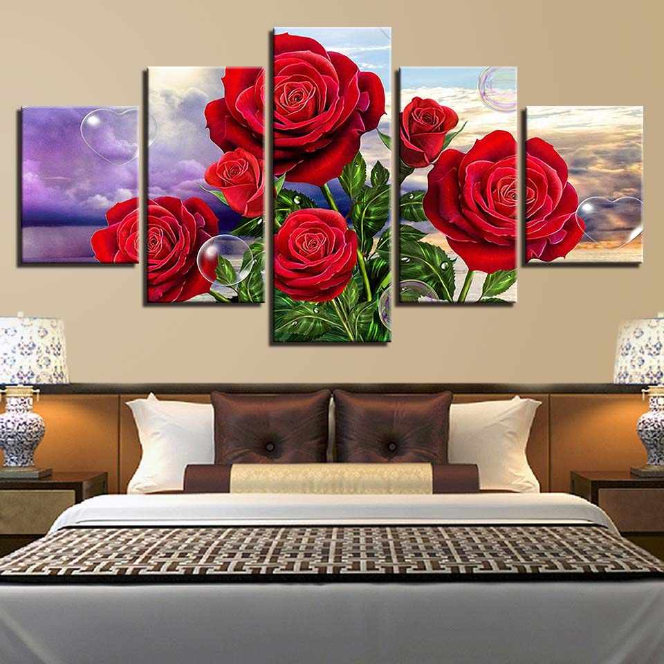 Modern Canvas HD Printed Pictures Home Decor 5 Pieces Red Rose Flowers Painting Modular Poster Framed Wall Art For Living Room