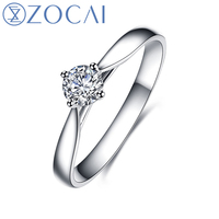 ZOCAI New Design Ring 0.30 CT/ 0.4 CT/ 0.5 CT Certified Genuine Real Diamond Engagement Ring Platinum Pt950 Diamond Ring W00215