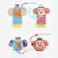 Cartoon Baby Speelgoed Pols Band Sokken Dier Pluche Rammelaars kinderen Speelgoed 0-12 Maanden Pasgeboren Voet Finder Sok pasgeboren Rammelaar 4