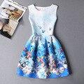 2XL Nova Marca Primavera Verão Plus Size Mulheres Impressão Colete Floral dress mangas uma linha de vestidos de festa da moda vestido de festa hot