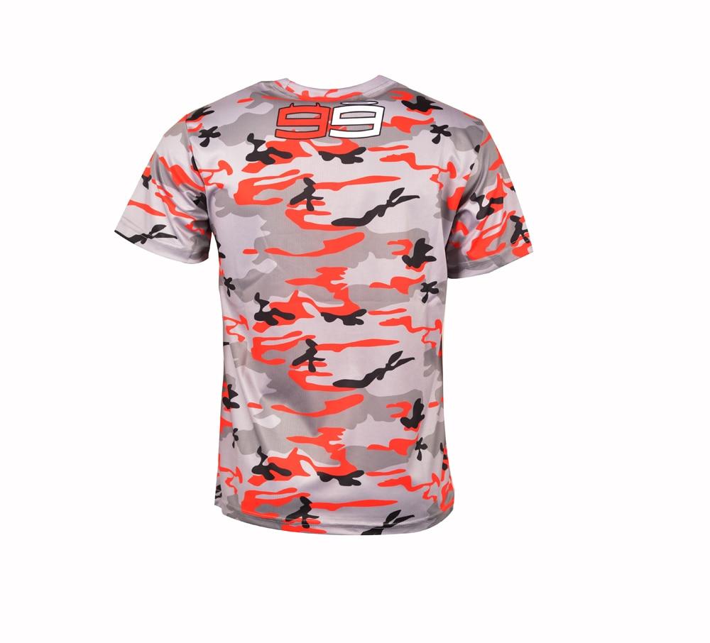 2017 Mens 100% cotton summer casual fashion Jorge Lorenzo 99 Moto GP Porfuera Camouflage T-shirt Motorcycle Camo Tee