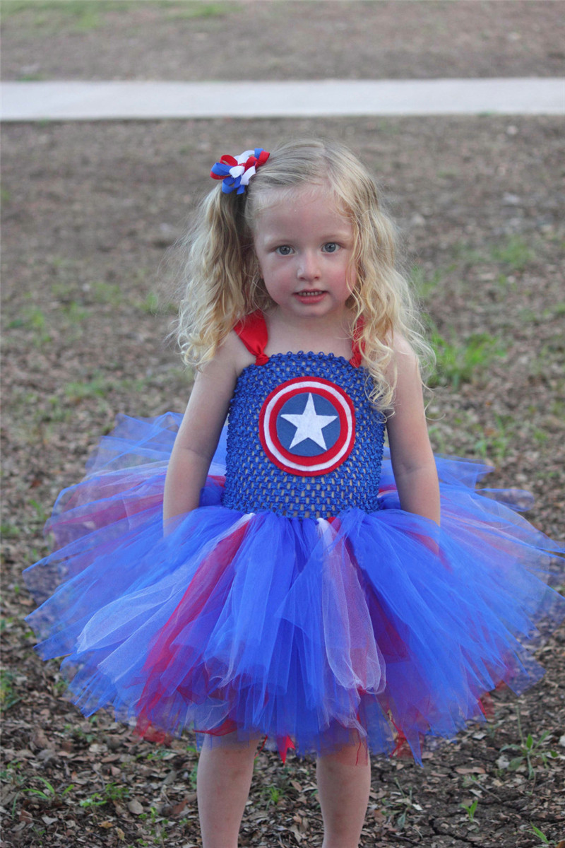 Girls Tutu Dress Kids Halloween Captain Costumes Role Play Fancy Clothes 2-9Y Children Captain America Costume Superhero Cosplay