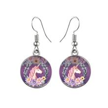 Women's Round Glass Unicorn Earrings
