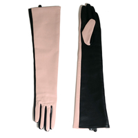 custom made 50cm(19.7) long combined color real sheep leather gloves pink and black