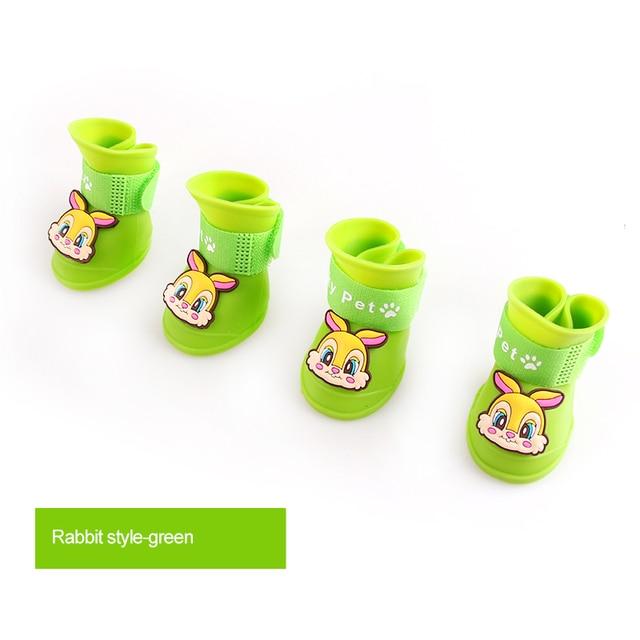 4Pcs/ Lot Waterproof Pet Rain Shoes Candy Color  Anti Slip Skid Rain Shoes For Dogs Portable Pet Boots