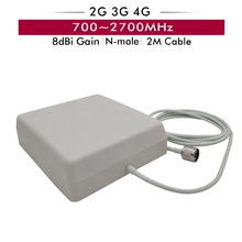 700-2700MHz Indoor Panel Antenna 8dBi with N-male Type Connector 2m Cable for GSM/CDMA/DCS/PCS/AWS/WCDMA/LTE 2G 3G 4G Booster indoor high gain 700 2600mhz 4g lte mimo antenna with 2 pcs 2m cable with crc9 sma ts 9 male connector