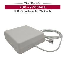 Antena de Panel interior de 700 2700MHz, 8dBi con conector tipo N macho, Cable de 2m para GSM/red dcs/Uds./AWS/WCDMA/LTE 2G 3G 4G Booster