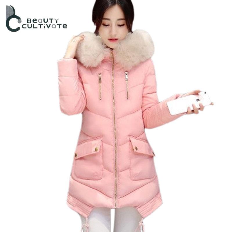 2016 Yeni Kış Büyük cepler kadın Kabanlar İnce Aşağı pamuk Kapüşonlu kadın kürk yaka kalınlaşma Sıcak ceket Ceket
