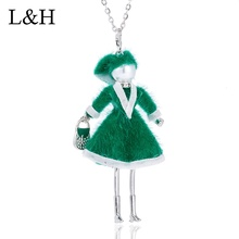 цена на Green Dress Women Doll Long Chain Necklace 2018 Cute Party Girl Charm Necklaces&Pendants Statement Jewelry Accessory For Women