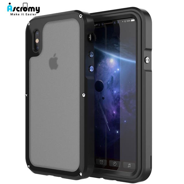 Ascromy For iPhone X Case Shockproof IP68 Waterproof Metal Bumper Cover For Appe iPhone 7 Plus 8 8plus Water Proof Accessories (1)
