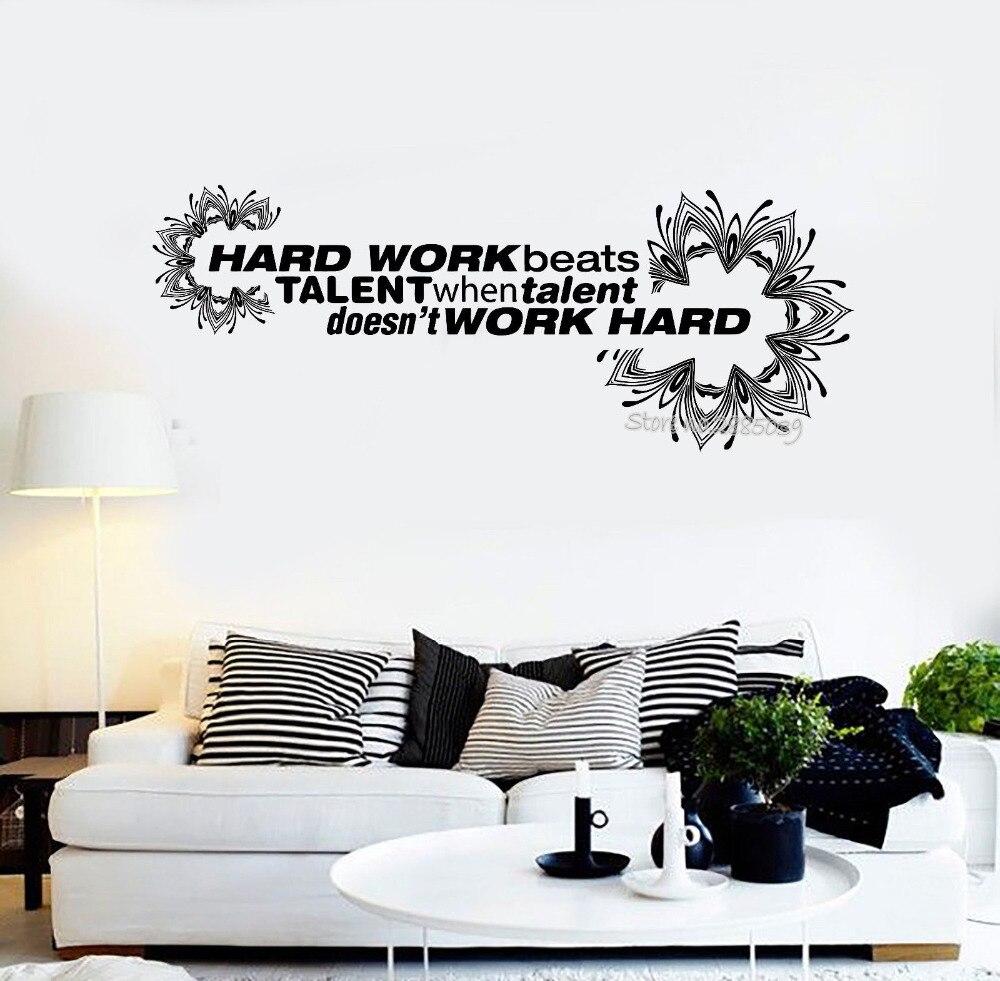 Новый Дизайн виниловые наклейки на стены офиса Цитата жесткий работы мотивация Декор Наклейки современная мода плакат Обои Книги по искусс... ...