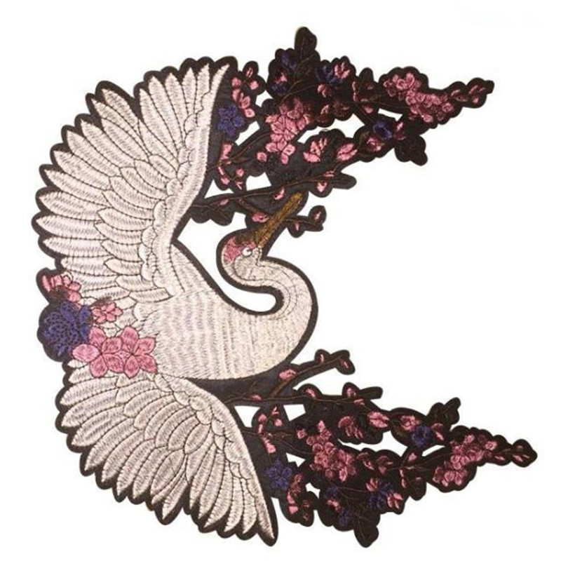Street Fashion Icon 29cm crane flower iron onpatches for clothing diy embroidery biker patch for clothes t shirt women stickers