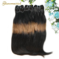 Funmi Double Drawn Straight Human Hair Weft Ombre 3 Tone Fumi Hair Bundles Thick End Hair Weave Extension No Tangle No Shedding