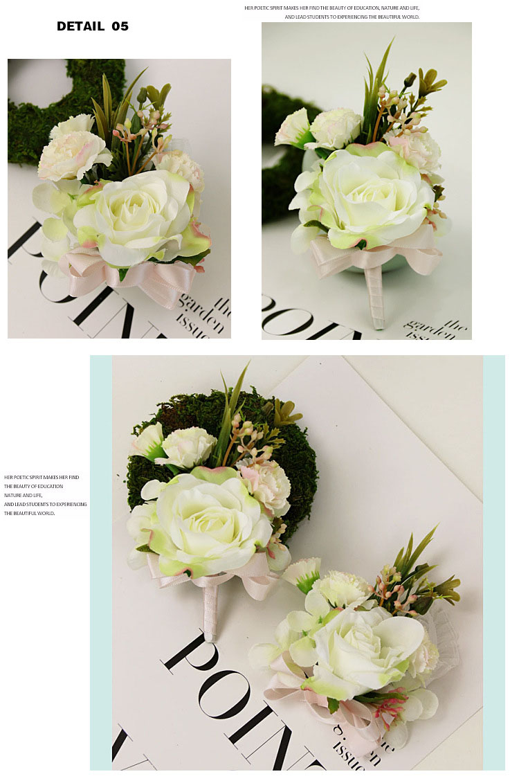 bridesmaid bracelet wedding corsage flowers roses artificial  (13)