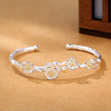 цена Creative Fashion 925 Sterling Silver Jewelry Exquisite Cherry Flower Blossom Branches Allergy Opening Bracelets & Bangles онлайн в 2017 году