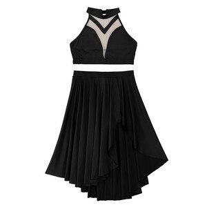 Image 2 - Top corto de baile lírico asimétrico para mujer, con pantalones cortos incorporados, trajes de falda con cuello Halter y espalda descubierta, conjunto de baile para baile de graduación