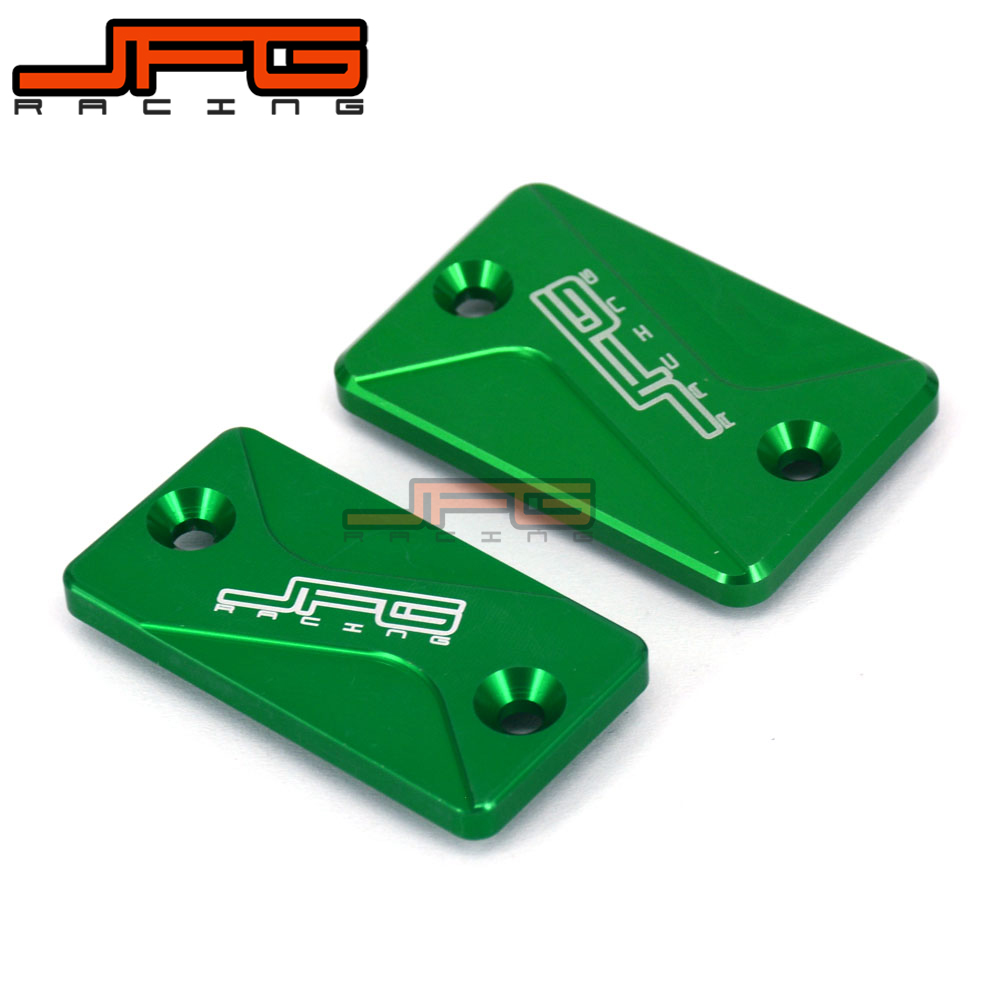 JFG CNC Alloy Front & Rear Brake Reservoir Fluid Cover For KLX125 D-TRACKER125 10-16 KLX150S 09-13 KLX250/300 93-16 Motorcycle universal motorcycle brake fluid reservoir clutch tank oil fluid cup for mt 09 grips yamaha fz1 kawasaki z1000 honda steed bone