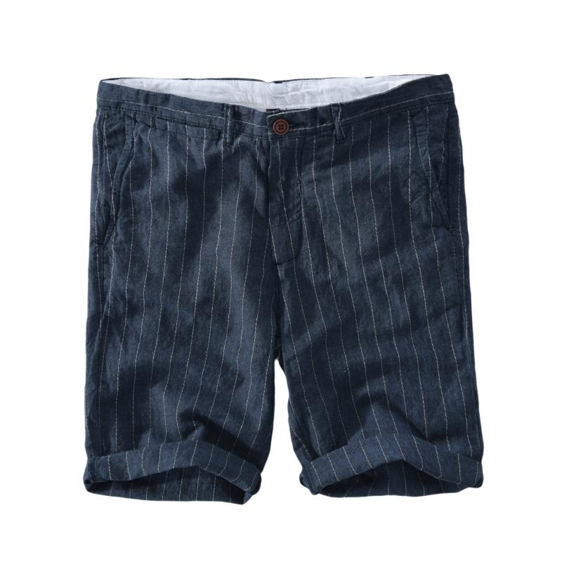 9e03f34096 2018 New Men's striped shorts linen beach shorts men 29 38 size 100% flax  board short mens summer casual bermuda masculina-in Board Shorts from Men's  ...