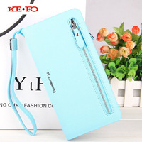 Wallet Case Universal Cover Voor Samsung Galaxy Grote Prime Core Prime XCover 3 Xcover 4 Luxe Lange Rits Vrouwen Portemonnee Purse