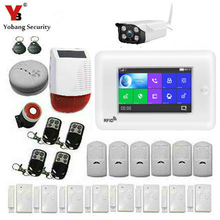 Yobang Security App Control WIFI GSM Home Alarm System Touch Screen Smart Home Burglar Security Outdoor IP camera Alarm System